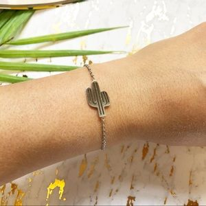 NEW Silver Dainty Cactus Stainless Steel Bracelet